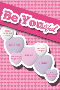 Be Youtiful Pinterest Graphic. Happy Valentines Day. How to be Beautiful on Crumpets and Bollocks. Read more about Michelle Grewe's story on beauty. From fat cow to supermodel to demon to human.